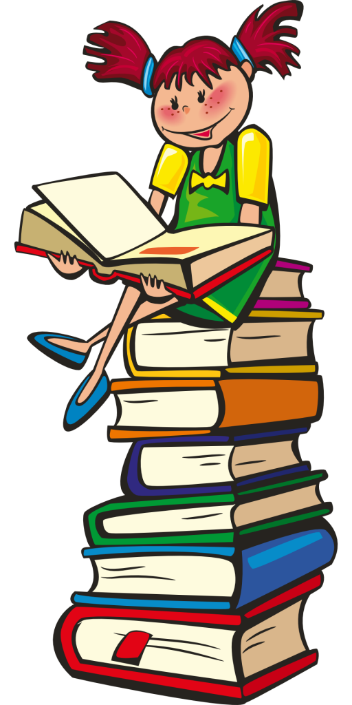girl, books, stack
